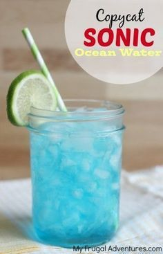 Sonic Ocean Water Copycat Sonic Ocean Water Recipe- so fresh and delicious and you won't believe how easy it is to make at home!Copycat Sonic Ocean Water Recipe- so fresh and delicious and you won't believe how easy it is to make at home! Kid Drinks, Party Drinks, Cocktail Drinks, Beverages, Non Alcoholic Drinks To Make At Home, Sonic Drinks, Frozen Drinks, Sonic Ocean Water, Ocean Water Drink