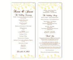 Wedding Program Template DIY Editable Word File Instant Download Program Yellow Program Heart Program Printable Wedding Program 4x9.25inch by TheDesignsEnchanted