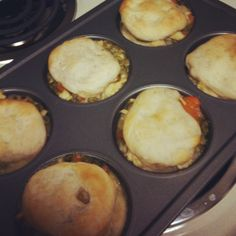 HOMEMADE CHICKEN POTPIES! My own recipe! CRUST-is pilsbury biscuits squished down so they dont rise. (split top and bottom to make top and bottom crust) MIXTURE-pre-cooked chicken chunks with carrots, peas, and homemade chicken gravy. HEAT in oven @350 for 15-18 minutes or until bisquits have cooked through!