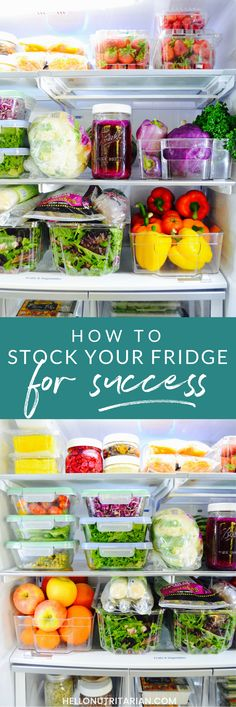 Learn how to stock your refrigerator for healthy eating success! Fridge organization and cleaning tips, food storage, and the top 12 items to always have on hand in the fridge! Click if you need a fridge-intervention or just some inspiration!  Grab my free printable shopping list and some healthy-eating fridge art too!  You can also follow a year's worth of healthy, food-prepped fridges on my Instagram profile @hellonutritarian xo, Kristen #eattolive #drfuhrman #nutritarian #refrigerator