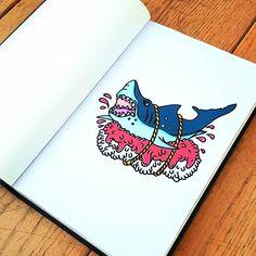 SUSHARK    #shark #sushi #blood #draw #illustration #inspiration #art #tattoo #flash #sketch #drawing