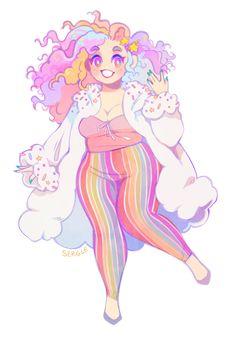 "sergle: ""A character design commission based off of a rainbow cake! "" sergle: ""A character design commission based off of Female Character Design, Character Design Inspiration, Character Art, Arte Do Kawaii, Kawaii Art, Cute Art Styles, Cartoon Art Styles, Cartoon Kunst, Plus Size Art"