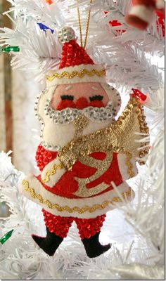 Vintage felt n sequin Santa ornament More