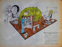 Rare ORIGINAL 1975 SUNSHINE FAMILY DOLL GEODESIC GREENHOUSE CONCEPT ART! Vintage