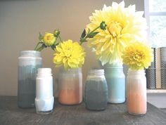 DIY Project: Ombre Painted Jars by Stockroom Vintage |