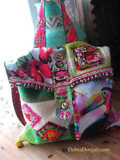 Rain Forest  Bag, Toucan, Bird, Boho Bag, Vintage Wool, Colourful Bag, Pom Poms, Flowers
