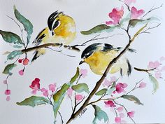 ORIGINAL Watercolor Painting Yellow Birds on a by ArtCornerShop