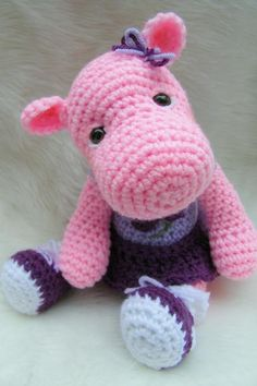 Simply Cute Hippo Toy Crochet Pattern.So adorable. [SO ADORABLE SEXY HIPPO GIRL]