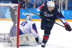 Mark Arcobello of the United States scores a goal against Jan Laco of Slovakia in the second period during Day 11 of the PyeongChang 2018 Winter Olympic Games at Gangneung Hockey Centre on February 20, 2018 in Gangneung, South Korea. (Ronald Martinez | Getty Images)