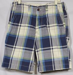 ABERCROMBIE & FITCH Men's Blue/White/Green Plaid Shorts 31 Button Fly 4 Pockets #AbercrombieFitch #CasualShorts