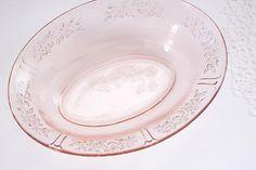 Federal Glass Sharon - Cabbage Rose - Blush Pink Depression Glass, Serving Bowl, Vegetable Bowl