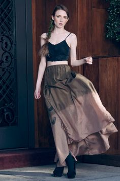 Ombre Silk Flowing skirt - Olive via Etsy