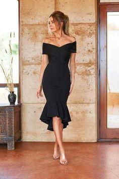 Black Dress Outfits, Black Midi Dress, Casual Dresses, Fashion Dresses, Elegant Outfit, Classy Dress, Classy Outfits, Formal Dresses Online, Frack