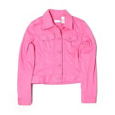Pre-owned Liz Claiborne Denim Jacket Size 3: Pink Women's Jackets &... (140 NOK) ❤ liked on Polyvore featuring outerwear, jackets, pink, liz claiborne, pink denim jacket, jean jacket, pink jean jacket and liz claiborne jacket