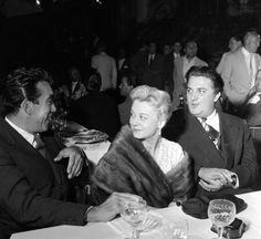 Anthony Quinn, Giulietta Masina e Federico Fellini