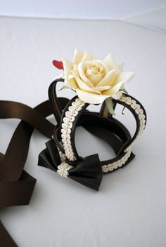 Classical Lolita Brown x Cream Leather Crown by ParadiseRose, $45.00