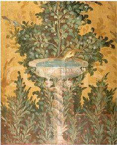 Roman Fresco from the Oplonti Villa in Pompeii Depicting a Birdbath