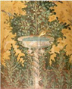 Roman Fresco from the Oplonti Villa in Pompeii Depicting a Birdbath
