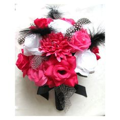 Wedding bouquet Bridal Silk flowers Hot Pink FUCHSIA BLACK WHITE feathers Bridesmaids boutonnieres Corsages 17 pc package found on Polyvore