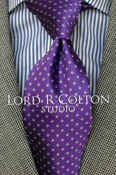 $95 Retail New Lord R Colton Studio Tie Resort Blue Dobby Woven Necktie