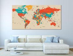 World Map Wall Art World Map Canvas World Map Print World   Etsy World Map Canvas, World Map Wall Art, World Map Decal, Wall Maps, Frames On Wall, Art World, Detailed World Map, Map Artwork, Canvas Art