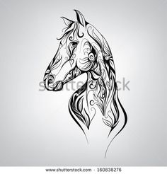 Mustang Horse Head Silhouette | Silhouette of a horse in the patterns of. Vector illustration - stock ...