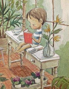 Tardes de verano y lectura… a la fresca vegetal (ilustración de Rocio Bonilla)