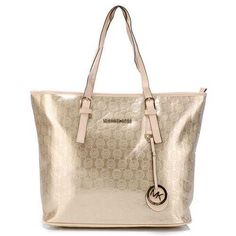 a492cb0df293e6 Perfect Michael Kors Monogram Mirror Metallic Signature Large Gold Totes,  Perfect You