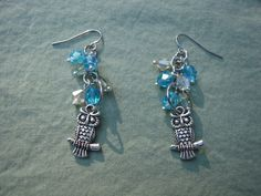 Silver and Blue Owl Dangle Earrings Silver by AllMyLoveofCrafts, $11.00