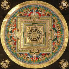Tibetan Buddhist Mandala: This is where mandala originated from and were on many occasions made from sand. The gold that is used in this one makes a feeling of royalty. The small dashes of colour add to the design to have meanings and work with the gold without looking over done