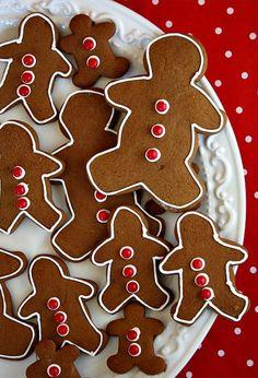 Gingerbread Men. Ingredients: flour, baking soda, ginger, cinnamon, cloves, salt, butter, brown sugar, egg, molasses, icing, red hots