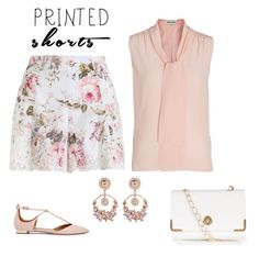 """""""outfit 4619"""" by natalyag ❤ liked on Polyvore featuring Zimmermann, Whistles, Aquazzura, New Look and printedshorts"""