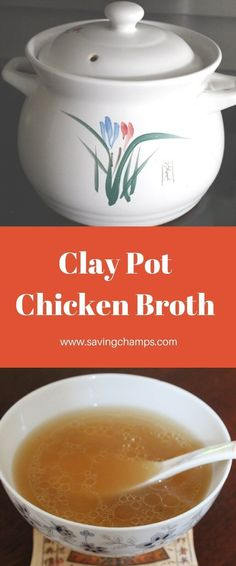 A recipe for clay pot chicken broth. Clay pots allow even heat distribution and slow gentle cooking, which can retain the best flavor and nutrition. Clay Pot Chicken Recipe, Chicken Soup, Soup Recipes, Dinner Recipes, Yummy Recipes, Chowder Recipes, Recipies, Gluten Free Soup, Clay Pots