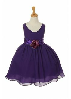 Elegant Sassy Flare Dress with Flower Corsage-flower-girl-dress
