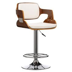 Walnut & Faux Leather Bar Chair, White/Brown