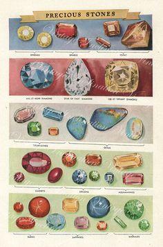 Vintage 1930s Minerals Print Antique Gems Precious Stones print gemstones print, bookplate art print, minerals wall print wall art