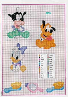 healthy breakfast ideas for kids age 9 to make 3 12 11 Disney Cross Stitch Patterns, Cross Stitch For Kids, Cross Stitch Charts, Daisy Duck, Alphabet For Kids, Cross Stitching, Creations, Crochet Patterns, Kids Rugs