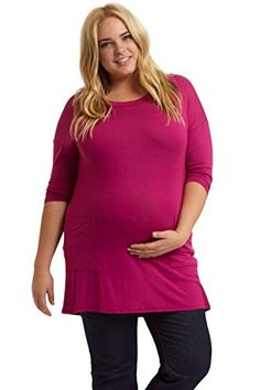 PinkBlush Maternity Magenta Button Back Plus Size Top XL -- Continue to the product at the image link.
