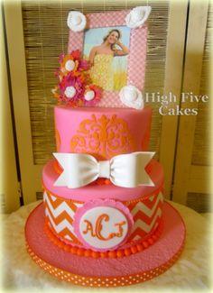 Graduation - Girly Grad cake.  Everything is edible.