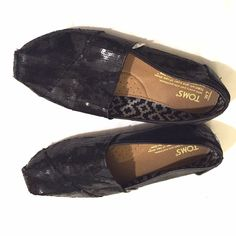Black Sequined Toms Size 7 It's a sad day for me. I bought this great pair of Toms here on Poshmark but my feet are too wide for them.  They go with just about everything and are in great condition. TOMS Shoes Flats & Loafers