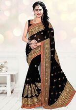 Utsav Fashion - Black Faux Georgette Saree with Blouse Price: INR 7048  | http://www.cbuystore.com/product/utsav-fashion-black-faux-georgette-saree-with-blouse/10146378 | United States