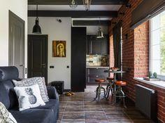 Kicsi és stílusos - 31m2-es mini loft lakás kontrasztos dekorációval