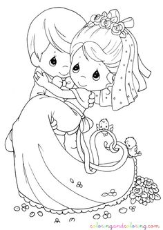 wedding coloring pages | Coloring wedding precious moments