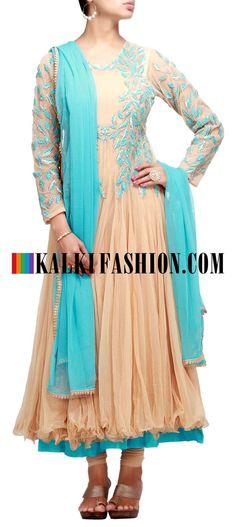 Buy it now http://www.kalkifashion.com/anarkali-suit-in-beige-net-with-resham-and-zari-work.html Anarkali suit in beige net with resham and zari work