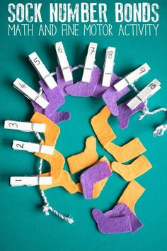 Simple to make maths centre activity inspired by the Dr Seuss book Fox in Socks. Create your own socks to work on number bonds to 10 by hanging them on the washing line. Full step-by-step instructions and extra ideas and resources included. Dr Seuss Activities, Toddler Activities, Preschool Lessons, Preschool Activities, Dr Seuss Week, Dr Suess, Number Bonds To 10, Dr Seuss Crafts, March Themes