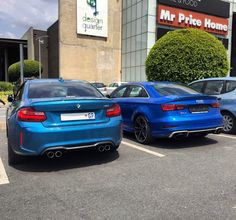 Sweet combo spotted in JHB today by @wes_william_finlay | Which would you choose and why? | #ExoticSpotSA #Zero2Turbo #SouthAfrica #BMW #M2 #Audi #RS3sedan