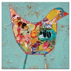 Adorn the walls of your den or living room with this whimsical canvas print, showcasing a vivid bird motif.   Product: Canvas pr...