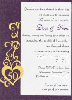 50th Wedding Anniversary Party Invite Invitations Celebration Ideas