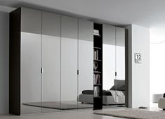 Modern closet with mirrored wardrobe would be very beneficial if applied in your home Wardrobe Boxes, Wardrobe Door Designs, Wardrobe Design Bedroom, Closet Bedroom, Home Decor Bedroom, Closet Curtains, Wardrobe Closet, Large Living Room Furniture, Mirrored Bedroom Furniture