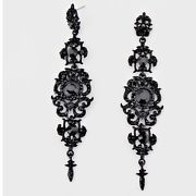 "4"" Long Black Big Jet Pierced Rhinestone Drop Austrian Crystal Pageant Earrings"
